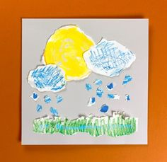 Raindrops falling from dark clouds? Or a sunny day? Color, crumple, and tear a no-mess scene to show your favorite weather.