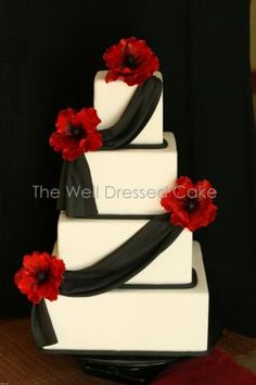 black white and red wedding cakes   Crafty Ideas