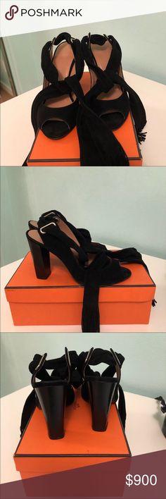 Hermès brand new tie up sandals suede Hermès brand new tie up sandals suede Hermes Shoes Heels
