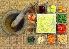 Thai Som Tam - Spicy Green Papaya Salad by The High Heel Gourmet 1 Thai Recipes, Indian Food Recipes, Salad Recipes, Vegetarian Recipes, Thai Green Papaya Salad, Spicy Spice, Onion Sprouts, Cooking Icon, Spicy Thai