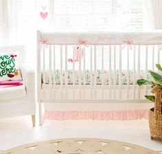 A baby girl's nursery begins with stylish pink crib bedding! Fresh and chic pink baby bedding in a variety styles all made in the USA. Choose a pink crib bedding set that is simple, floral or classic. Baby Girl Crib Bedding, Girls Bedding Sets, Girl Nursery, Girl Room, Nursery Ideas, Baby Room, Nursery Decor, Room Ideas