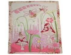 Simply beautiful – girl's hand embroidered patchwork cot quilt, by Powell Craft. Traditional Fairies in the Garden. Quilt Baby, Quilt Bedding, Powell Craft, Pink Baby Blanket, Baby Blankets, Pink Garden, Quilted Bedspreads, Childrens Room Decor, Pink Zebra