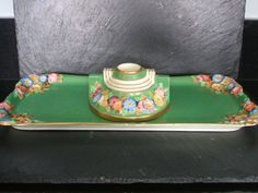 Stunning Art Deco Tuscan Plant China Tray and Candle Stick