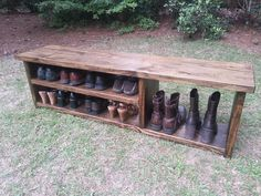 A sturdy and classic rustic style bench with space for shoes & boots! This is a longer version of our popular Rustic Boot Bench. We build each bench by hand from start to finish. Constructed...