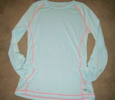 Womens Layer 8 Performance Shirt Long Sleeves Blue Orange Size Small #Layer8 #BaseLayers