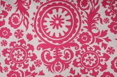 Premier Prints Suzani Printed Cotton Drapery Fabric in Candy Pink & White $7.48 per yard