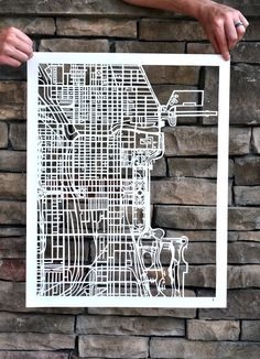 MAPCUT. hand cut map of chicago by karen m o'leary via Etsy. amazing technical precision cutting
