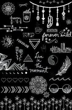 Wallpaper (preto e branco, frases, desenhos)