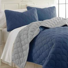 Sanctuary by PCT 3 Piece Coverlet Set in Denim & Silver