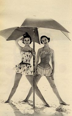 Love these retro skirted bathing suits!