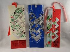 It always seems a crime to throw them in the bin so why not watch this Christmas card bookmark tutorial video and make yourself some unique quitter strips. Christmas Card Crafts, Christmas Origami, Old Christmas, Christmas Activities, Christmas Projects, Holiday Crafts, Christmas Ideas, Christmas Decorations, Homemade Christmas