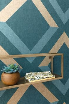 Bright and contrasting geometric shapes fill this design with a wonderful modern touch, bringing depth and dimension to your walls. Seen here in the Navy colourway. Navy Wallpaper, Blue Wallpapers, York Apartment, Urban Industrial, True Colors, Geometric Shapes, Fill, Texas, Bright