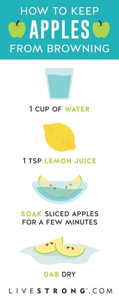 Perk up your apple snacks by preventing browning with this quick fix. All you need is lemon and water.