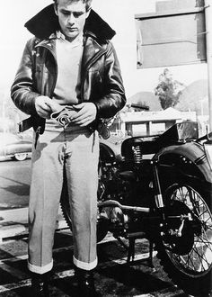 James Dean and his Triumph motorcycle