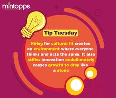 👉Tip Tuesday Hiring for cultural fit creates an environment where everyone thinks and acts the same. It also stifles innovation and ultimately causes growth to drop like a stone.