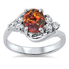 Sterling Silver Stunning Oval Black Opal Cut w/ CZ Stone Ring Sz 5-10 150298123456