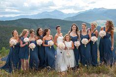 Mountain wedding, Vail wedding deck, the arrabelle, colorado, wedding party, bride and bridesmaids, flowergirl