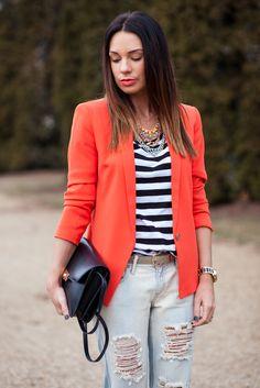 stripes and orange blazer