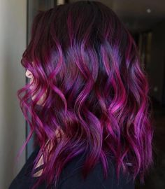 63 stunning examples of brown ombre hair - Hairstyles Trends Fuschia Hair, Violet Hair, Hair Color Purple, Hair Dye Colors, Hair Color For Black Hair, Cool Hair Color, Reddish Purple Hair, Peacock Hair Color, Purple And Green Hair