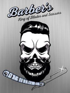 Placas Decor | Caveira e Navalha Barbeiro Hipster Barba Negra-Cód.:2448