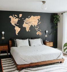 Home Decor Bedroom, Bedroom Wall, Bedroom Furniture, Living Room Decor, Dark Wood Bedroom, Bedroom Ideas, Bedroom Designs, Bed Room, Modern Bedroom