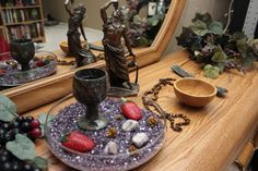 My first try at a humble altar to Dionysus. Witchcraft Symbols, Wiccan, Meditation Altar, Satanic Art, Altar Cloth, In This House We, Altar Decorations, Practical Magic, Drying Herbs