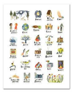ABC Print, Watercolor Alphabet Poster by LittleTruthsStudio