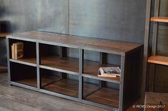 Meuble hifi/multimédia / Sur mesure / Style industriel / Bois Acier signé MICHELI Design