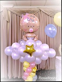 Baby Balloon, Baby Shower Balloons, Baby Shower Fun, Birthday Balloons, Baby Shower Parties, Baby Shower Themes, Baby Shower Centerpieces, Baby Shower Decorations, Mothers Day Balloons
