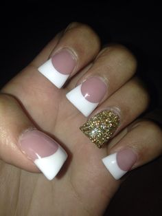 cute french tips acrylic nails. flare nails