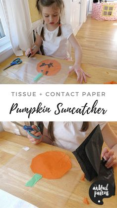 This pumpkin suncatcher will add Halloween cheer to your windows. Pumpkin, ghost and bat shapes make great Halloween decorations with two simple materials. Art Activities For Kids, Craft Projects For Kids, Crafts For Kids To Make, Creative Activities, Creative Kids, Art For Kids, Craft Ideas, Halloween Crafts For Toddlers, Halloween Arts And Crafts