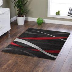Ribbon Pattern Rug in Black - 160x110cm