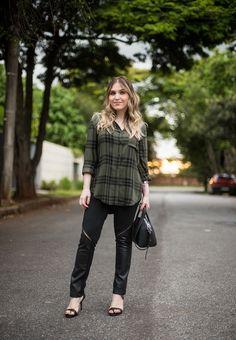 Look da Lu: xadrez verde musgo - ChataDeGalocha.com.br