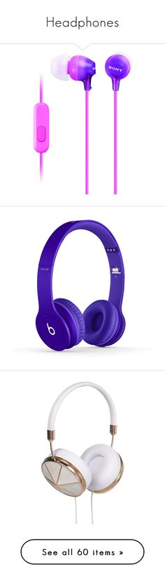 """Headphones"" by prettyrickiiee ❤ liked on Polyvore featuring accessories, tech accessories, purples, purple headphones, sony, sony headphones, electronics, headphones, beats and head phones"