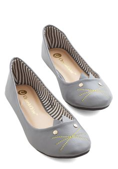 As Good as Mew Flat. Finding a new take on fun fashion is effortless with these grey ballet flats! #grey #modcloth