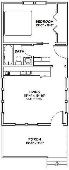 16x30 Tiny House -- #16X30H5 -- 480 sq ft - Excellent Floor Plans
