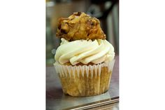 The famous Chicken N'Waffles Cupcake at Robicelli's Bakery - The Chefs Connection #food #photography #cupcake