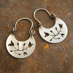 Dangle Earrings in Sterling Silver  with Pierced Flower Design - Bridesmaid Jewelry