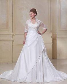 Taffeta & Lace Applique Beaded Queen Anne Plus Size Bridal Gown Wedding Dresses