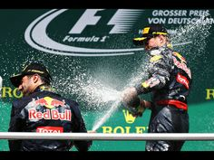 GP Germany Hockenheim 2016. Ricciardo and Verstappen celibrate becoming 2nd and 3rd spraying each other with champagne.