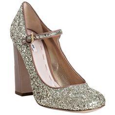 Miu Miu camel patent glitter mary-jane pumps ($420) ❤ liked on Polyvore featuring shoes, pumps, heels, miu miu, high heels, pumps & high heels, high heel pumps, patent pumps, mary jane shoes e camel pumps