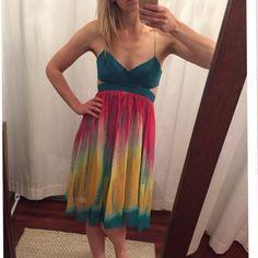 Bcbg maxazria Dress Bcbg maxazria Dress. No stains. Worn twice. One small tear, pictured in last picture. Ties in back. BCBGMaxAzria Dresses