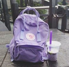 Purple aesthetic | Lavender vibes | fjallraven kanken | Bubble tea | Geek girl mood board
