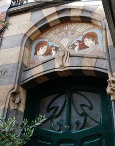 Art Nouveau detail entrance, Brussels, Belgium #door