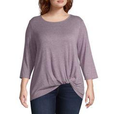 921d26357d6 Plus size · Buy Liz Claiborne 3 4 Sleeve Twist Front Tee - Plus at JCPenney .com