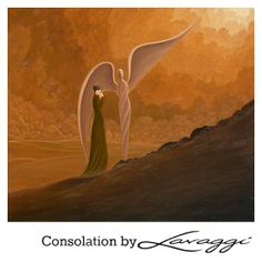 The Angel is embracing the weeping woman, while pointing upward and telling her that no matter how difficult the past has been, or how painful this moment may be, or even how rocky the future may become...you are going to make it all the way! http://www.lavaggi.com/site/pic43.shtml