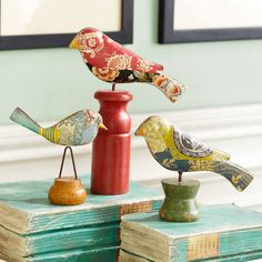 just purchased this little flock of folk art birds for my office!