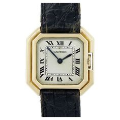 Pre-Owned Cartier 18k Yellow Gold on Leather Strap Ladies Watch (€3.535) ❤ liked on Polyvore featuring jewelry, watches, multi, 18k watches, gold watches, preowned watches, 18 karat gold watches and gold wristwatches