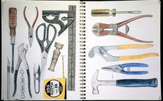 Adams Small Art Work: Hardware and Tools Colorful Drawings, Art Drawings, Jim Dine, Pen Sketch, Sketches, Observational Drawing, Mechanical Art, Object Drawing, A Level Art