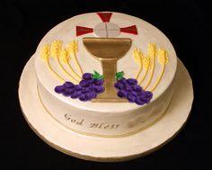 First communion cake First Communion Cakes, Communion Favors, First Holy Communion, First Communion Decorations, Religious Cakes, Confirmation Cakes, Cake Decorating Techniques, Love Cake, Celebration Cakes